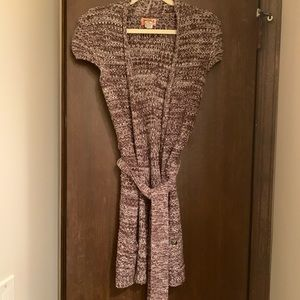 Brown and white wrap sweater